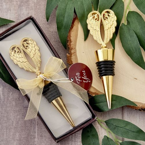 Angel Wings Bottle Stopper Gold Favour Gift